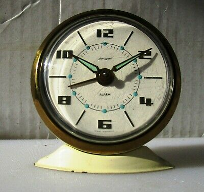 Wonderful Vintage Little Cream White Faced Alarm Clock from JERGER
