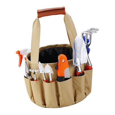 Garden Tool Bucket Storage Tote Bag W/ Gardening 9pcs Garden Tools Supplies