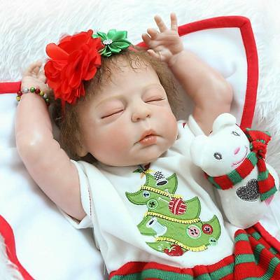 "23"" Full Body Silicone Vinyl Reborn Baby Girl Doll Lifelike Newborn Toys Kids Gi"
