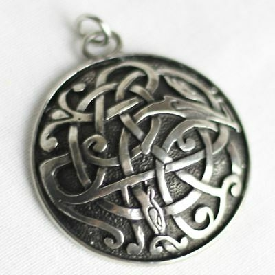 Large Celtic Kells Serpent Pendant --- Gaelic/Irish/Norse/Viking/Dragon/Silver