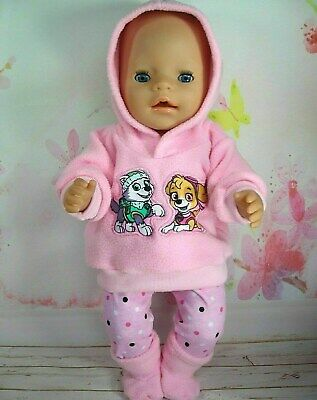 "Dolls clothes for 17"" Baby Born doll~PAW PATROL~GIRL~ PINK HOODIE/LEGGINGS/BOOTS"