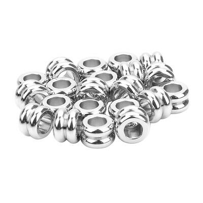 20x Stainless Steel Round Grooved Spacer Bead Jewelry Craft Findings 5x7.5mm