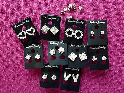 JOBLOT-10 pairs of crystal diamante stud earrings.Silver plated.UK handmade.