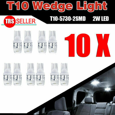 10X Super White 6000K High Power T10 Wedge LED Light Bulbs W5W 192 168 194 12V