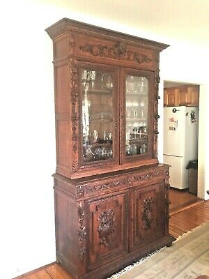 Hand Carved French Hunt Antique Bookcase
