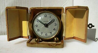 Neat Red and Bronze Vintage Travel Clock by BAYARD in Original Travel Box