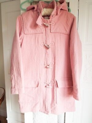 H & M pink 70% wool duffle coat Age 13 plus 164cm height/ 10-12 Removable hood