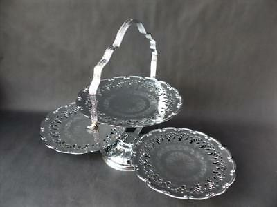 Vintage Large Three Tier Cake Stand -- Folding Three Tier English Plated Stand