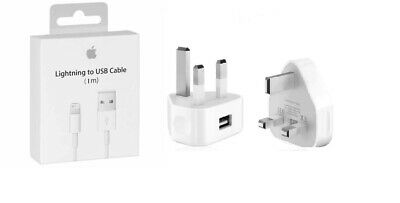 Genuine Apple iPhone 7, 6, 5 Mains Wall Charger Plug And Cable EC Approved