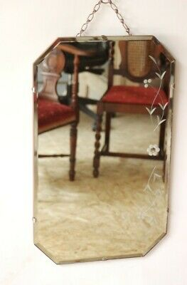 Vintage Retro Beveled Wall Mirror Floral Etched - FREE Shipping [5127]