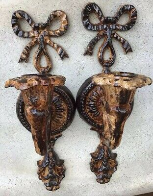 Pair Of Victorian Elaborate Cast Iron, Wall Mounted Candle Holders