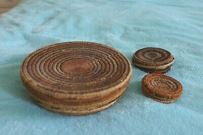 3 x Wicker containers with lids from Congo (Kuba?)
