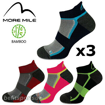 More Mile Mens Womens Ladies Bamboo Ankle Running Sports Cushioned Socks 3