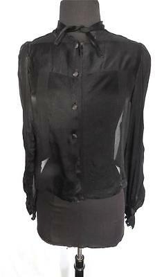 Rare French Antique Edwardian-Early 1920'S Black Chiffon & Satin Blouse Sz 36-38