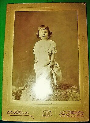 Antique Cabinet Card Photo of Little Girl Holding Onto Her Dress by A H Slade 1
