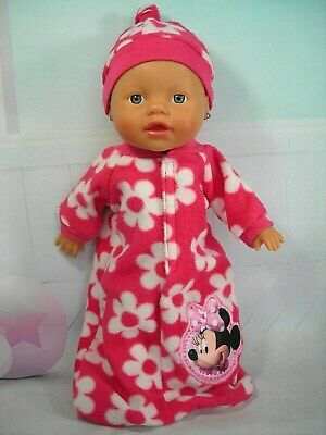 """Dolls clothes for 13"""" Little Baby Born Doll~MINNIE MOUSE FLORAL SLEEPING BAG~HAT"""