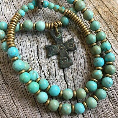 ANCIENT BRONZE BYZANTINE CROSS Pendant 1000 years old - Turquoise Beads Necklace