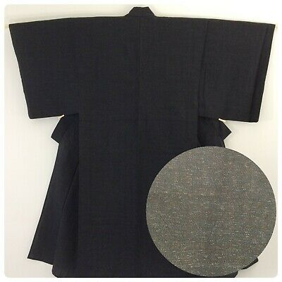Japanese men's kimono, black wool, medium, short, Japan import (B2580)