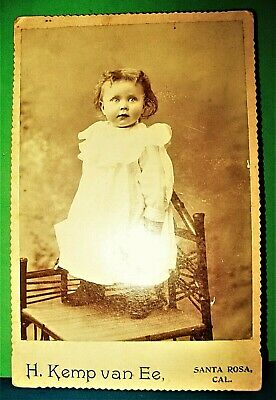 Antique 1800s Photo Cabinet Card Toddler Child Young Girl Standing In Chair  1