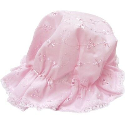 Baby Girl Mop Hat Broderie Anglaise Pink Or White Size 0-3 Month