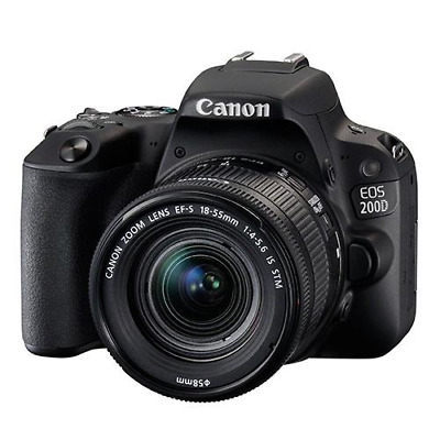 Canon EOS 200D Digital SLR & 18-55mm f4-5.6 IS STM Lens Kit - Black