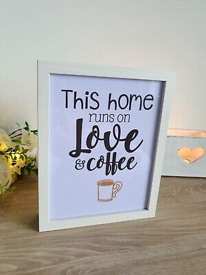 Shabby Chic White Wooden 'Love & Coffee' Lightbox Sign