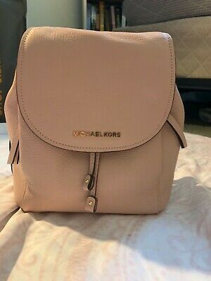 797e4fdf361f Michael Kors Riley MD Pebbled Leather Backpack in Pastel Pink Gold Hardware  $378