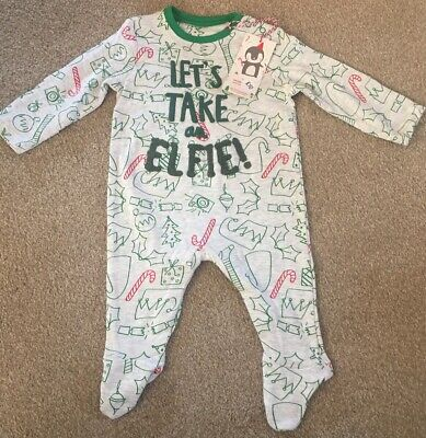 Mothercare Baby Girls Bous Elf Christmas Xmas Sleepsuit New Size 0-3 Months