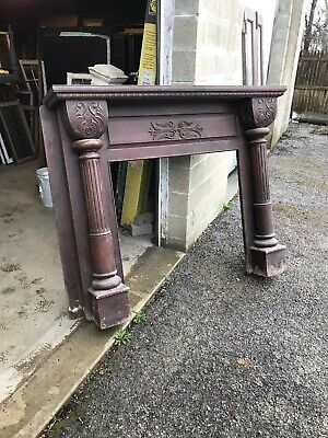 MAR Antique heavy carved Walnut fireplace mantle 64 x 51.5 x 13.5