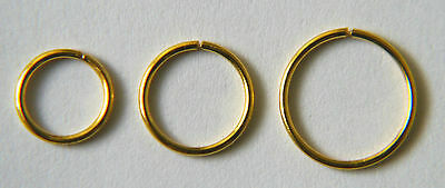 Sterling Silver 18Ct Gold Plated Seamless Nose Ring In 8Mm-10Mm-12Mm Sizes
