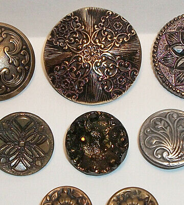 Antique mixed button lot of 8 - filigree , luster, carnival glass +
