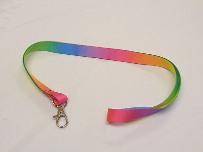 A rainbow print soft touch 15mm neck strap lanyard with hook for keys, ID etc.
