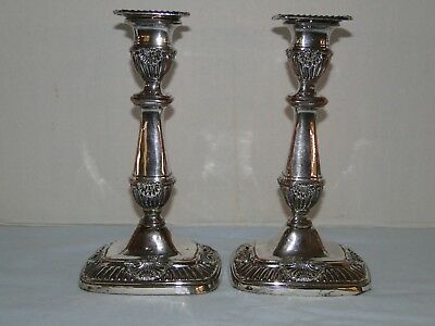 ANTIQUE OLD SHEFFIELD PLATE PAIR of CANDLESTICKS