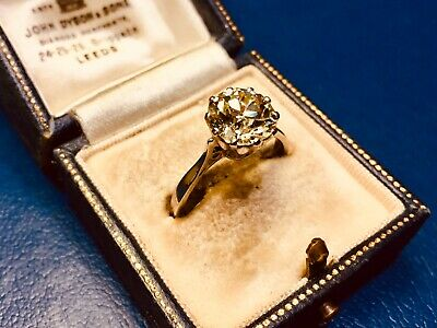 Vintage18ct White Gold Old European Cut Diamond Solitaire Ring *2.25 Carats*