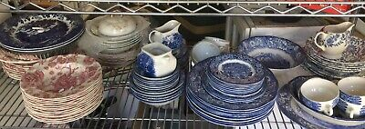 Staffordshire Ironstone Dinnerware Service for 8 LIBERTY BLUE England 85 Pieces