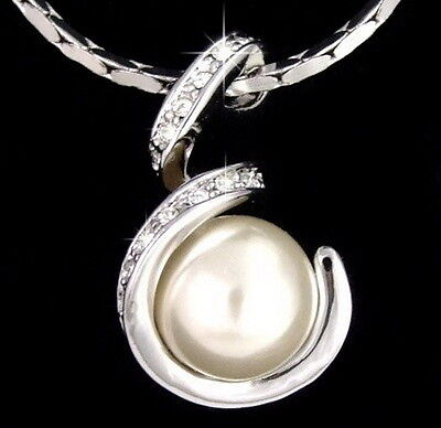 White Shell Pearl 18KWGP Crystal Snake S Women Girl Party Pendant Chain Necklace