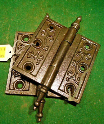 "Pair Vintage Eastlake Hinges  3 1/2""  X 3 1/2""  Steeple Top - Beautiful (10533)"