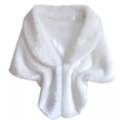 White Faux Fur Fox Cape Shrug Stole Bolero Jacket Shawl  Wrap Wedding Bridal