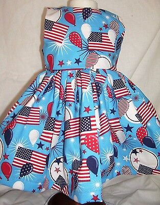 Dress fits 18 in American Girl Doll - Patriotic Red White & Blue Balloons, Flags