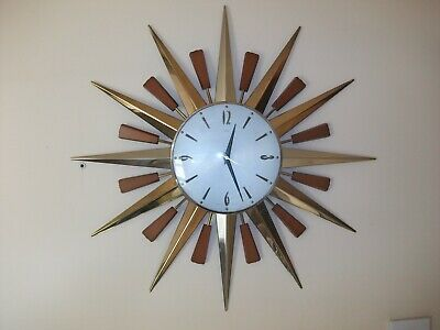 "Metamec Starburst Clock  Large 24"" Diameter  Late 60'S Early 70'S Vgc"