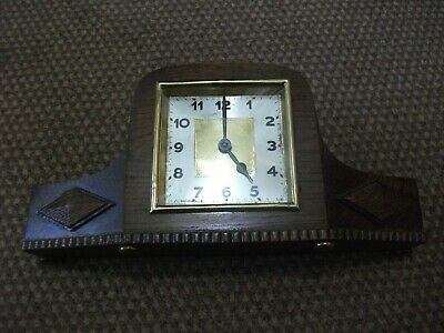 ART DECO 1930's OAK MANTLE CLOCK