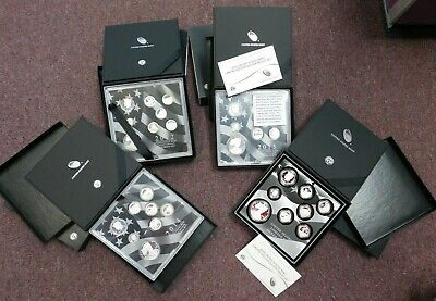 Lot Of 4 Limited Edition Silver Proof Sets 2012, 2013 2014 & 16 Mint Package Coa