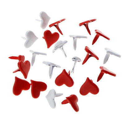 100pcs 11mm Heart Shape Metal Brads Paper Fasteners for Scrapbooking Crafts