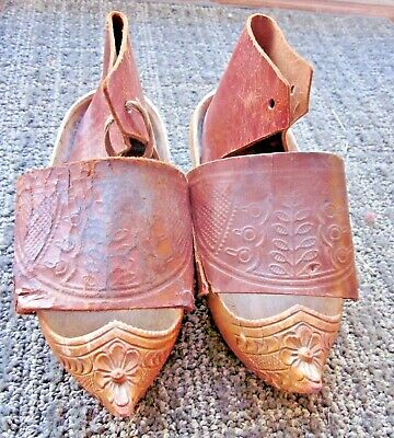 Rare Antique 1918 French Carved Wooden Sabots/Clogs/Shoes Tooled Leather UNIQUE