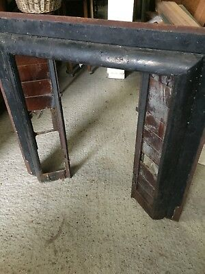 Old Reclaimed Painted Fireplace Fire Surround Cast Iron Brown Tiles 5/11/L