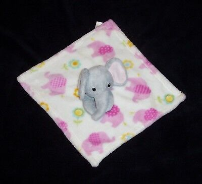 Little Miracles Elephant Baby Blanket Grey Pink Flowers Soft Security Lovey