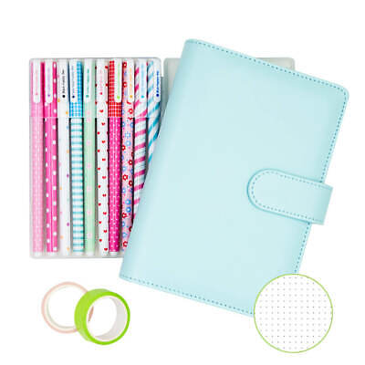 A6 Power Blue Spiral Bullet Journal Refillable Dotted Diary and Bujo Start Kits