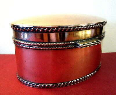 """Antique Victorian COPPER / Silver * PLATED """"Tea * Caddy""""  7"""" x 5"""" OVAL / 4"""" high"""