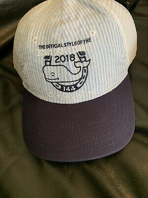 3f996577749ef NWT Vineyard Vines Kentucky Derby 144 Seersucker Trucker Whale Hat NEW Blue