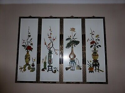 4 Vintage Chinese / Oriental / Asian Wall Plaque Panels / 3D Pictures